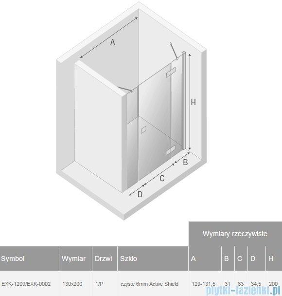 New Trendy Reflexa Plus 130x200 cm drzwi wnękowe prawa przejrzyste EXK-1209/EXK-0002
