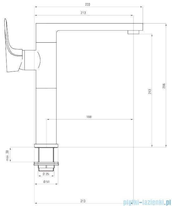 Deante Gardenia bateria zlewozmywakowa stojąca z prostokątną wylewką chrom/czarny BEG B630