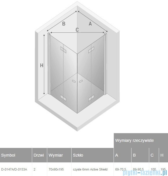New Trendy New Soleo 70x90x195 cm kabina prostokątna przejrzyste D-0147A/D-0153A