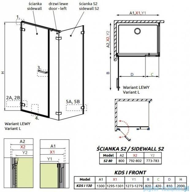 Radaway Arta Kds I kabina 130x80cm lewa szkło przejrzyste 386820-03-01L/386102-03-01L/386110-03-01