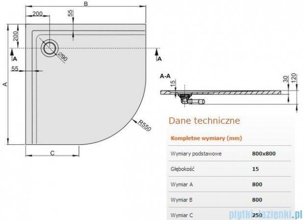 Sanplast Space Mineral brodzik półokrągły 80x80x1,5cm+syfon 645-290-0420-01-000