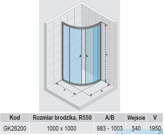 Riho Lucena kabina półokrągła 100x100x195cm GK26200