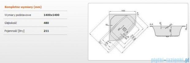 Sanplast Space Line Wanna symetryczna+adapter z pokrywką WS-SPACE 140x140 cm, 610-100-0650-01-000