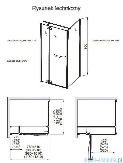 Aquaform HD Collection drzwi uchylne prawe 90cm przejrzyste 103-09374