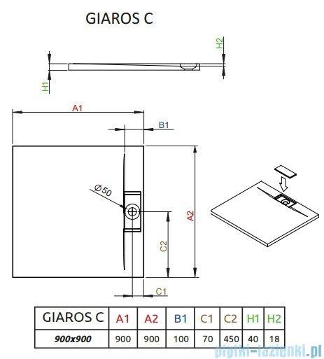 Radaway Giaros C Brodzik kwadratowy 90x90x4cm MKGC9090-03