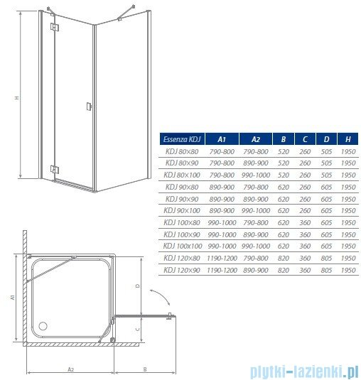 Radaway Kabina prysznicowa Essenza KDJ 100x90 prawa szkło przejrzyste + brodzik Doros D + syfon 32845-01-01NR