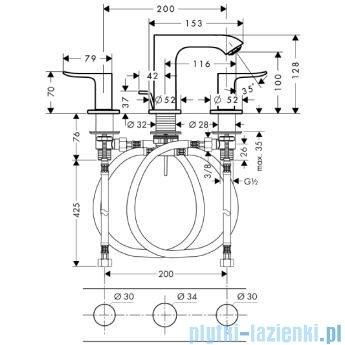 Hansgrohe Metris 3-otworowa bateria umywalkowa 100mm DN15 31083000