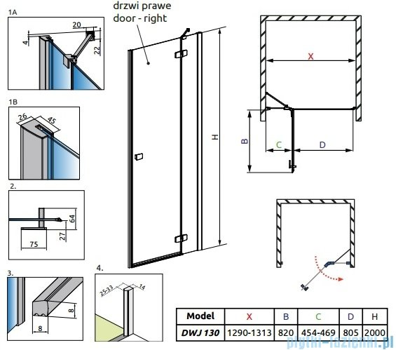 Radaway Fuenta New Dwj drzwi wnękowe 130cm prawe szkło przejrzyste 384017-01-01R