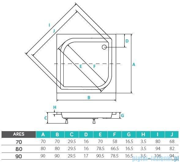 Piramida Ares Brodzik 70x70x15/25 kwadratowy średni #BAA-70-KW