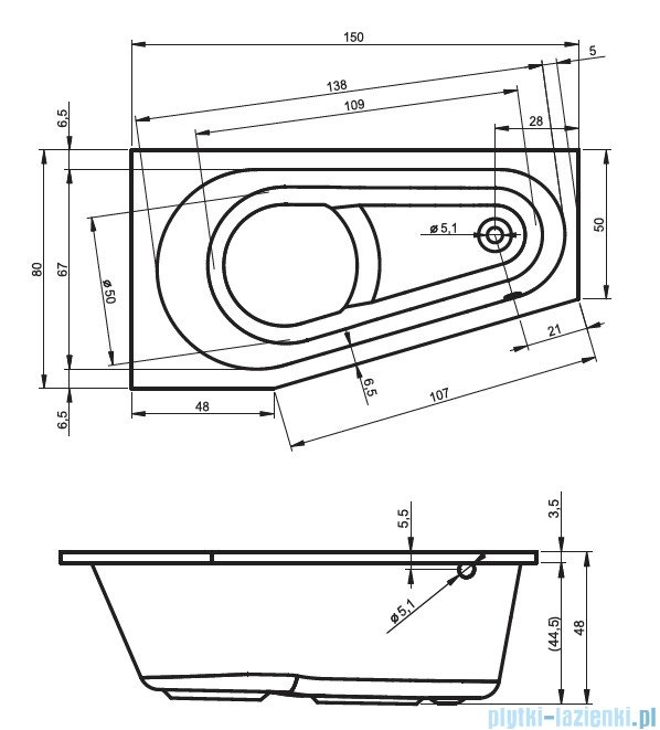 Riho Delta wanna asymetryczna prawa 150x80 z hydromasażem PRO Hydro 6+4+2 BB80P6
