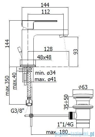 Paffoni  Bateria umywalkowa stojąca z korkiem Effe chrom EF075CR
