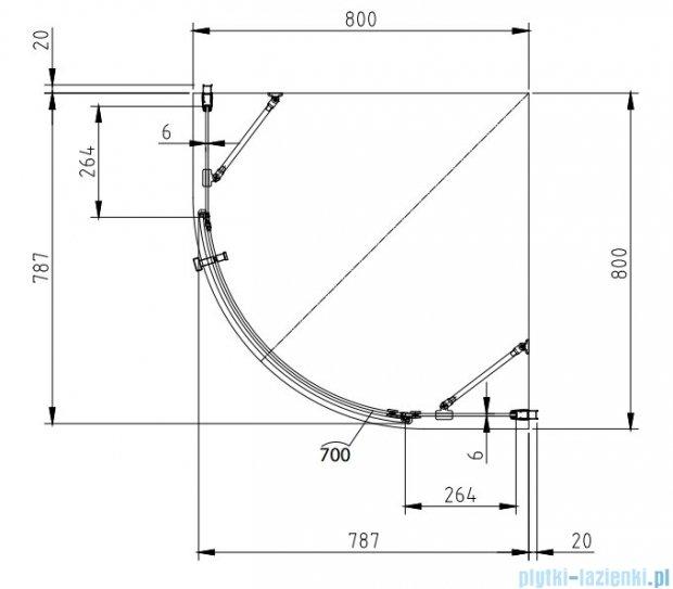 Omnires Manhattan kabina 1-skrzydłowa 80x80cm szkło przejrzyste+brodzik ADF80X/3.063