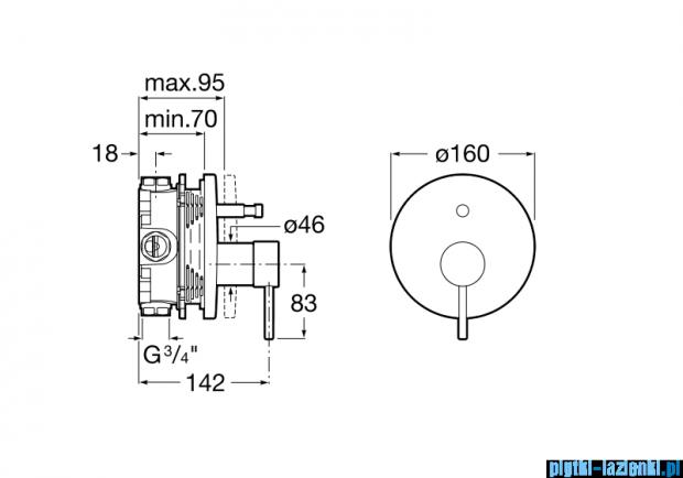 Roca Lanta element zewnętrzny baterii wannowo-natryskowej A5A0B11C00