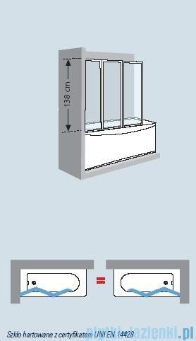 Novellini Parawan nawannowy AURORA 9 138x138cm profil biały acryl wzór kaskady AURORA93V-16A