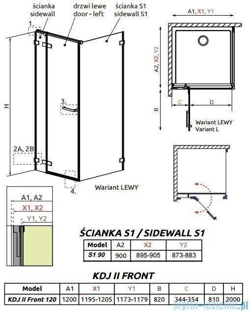 Radaway Arta Kdj II kabina 120x90cm lewa szkło przejrzyste 386457-03-01L/386042-03-01L/386021-03-01