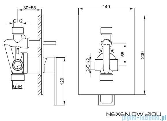 Kohlman Nexen Podtynkowa bateria wannowo-prysznicowa z dwoma wyjściami QW210U