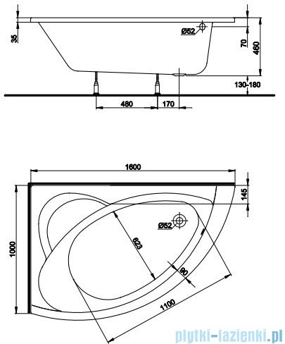 Koło Neo Plus Wanna asymetryczna 160x100cm Lewa XWA0761