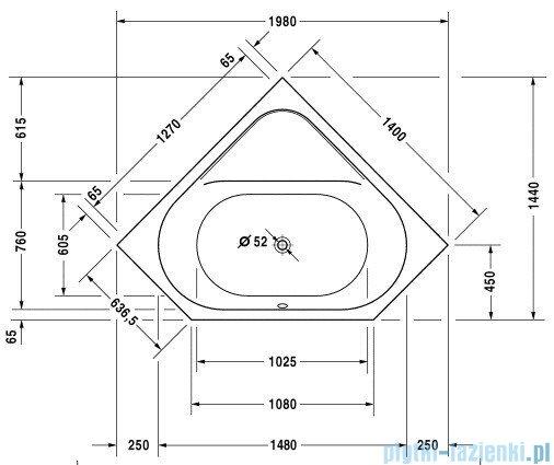 Duravit D-Code wanna narożna 140x140 cm do zabudowy 700137 00 0 00 0000