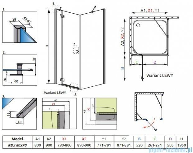 Radaway Almatea Kdj Gold kabina prysznicowa 80x90 lewa szkło grafitowe 32146-09-05NL