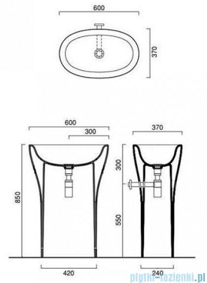 Catalano Muse Freestanding umywalka stojąca odpływ poziomym 60x37x85 cm biała 1FRPMU00