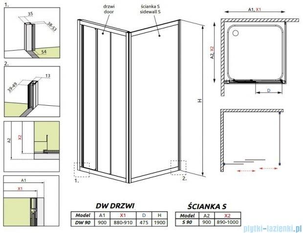 Radaway Treviso DW+S kabina 90x90 szkło przejrzyste + brodzik Delos C + syfon 32303-01-01N/32403-01-01N/SDC0909-01