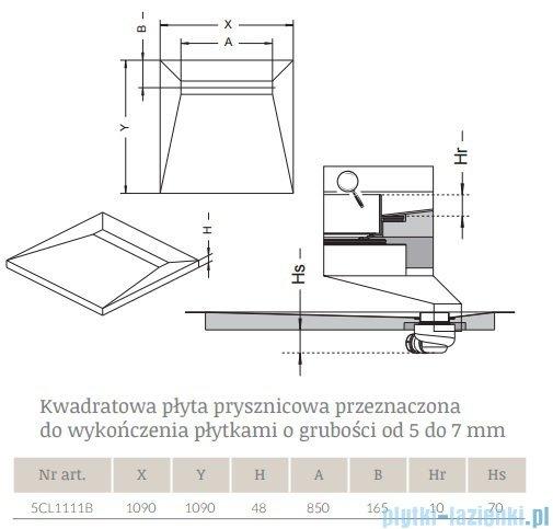 Radaway kwadratowy brodzik podpłytkowy z odpływem liniowym Rain 109x109cm 5CL1111B,5R085R,5SL1