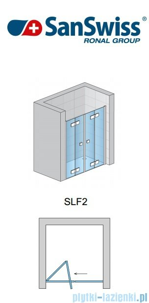 SanSwiss Swing Line F SLF2 Wejście narożne z drzwiami 100cm profil srebrny Lewe SLF2G10000107