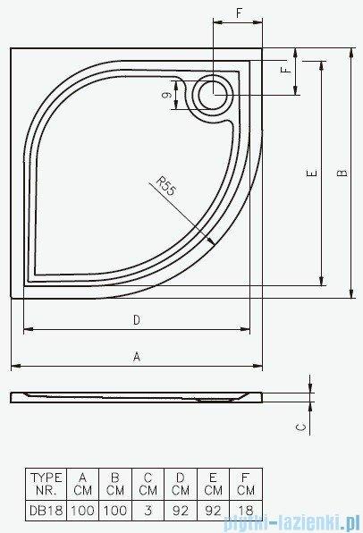 Riho Brodzik półokrągły Kolping 100x100x3 + nóżki + syfon DB18