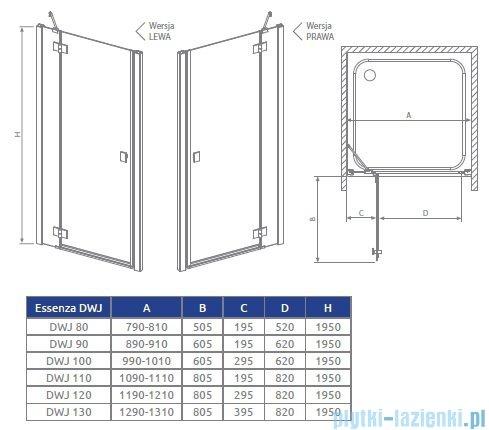 Radaway Essenza DWJ Drzwi wnękowe 130 prawe szkło przejrzyste 32744-01-01NR