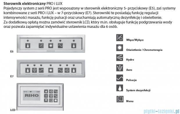 Riho Dorado Wanna asymetryczna 170x75 lewa z hydromasażem LUX Hydro 4+4+2/Aero12 BA81L8