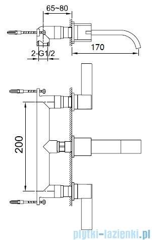 Kohlman Dexame 3-otworowa podtynkowa bateria umywalkowa QW190D