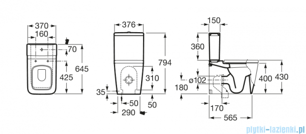 Roca Inspira Square miska do kompaktu wc o/podwójny A342537000