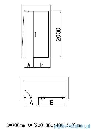 Deante Moon drzwi wnękowe uchylne 90cm KTM 011P