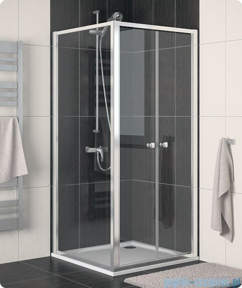 SanSwiss Eco-Line Drzwi 2-częściowe Ecp2 100cm profil biały szkło przejrzyste ECP210000407