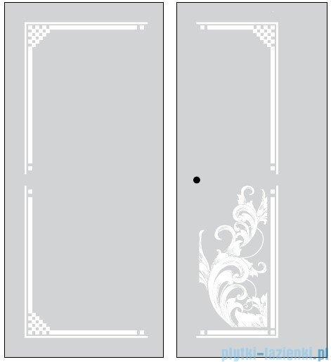 Kerasan Kabina prostokątna lewa, szkło dekoracyjne piaskowane, profile brązowe 80x96 Retro 9142P3