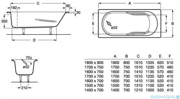 Roca Genova N wanna 170x70cm z hydromasażem Effects Gold Opcja A24T374000