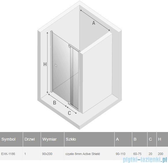 New Trendy Scalia drzwi prysznicowe 90-110cm przejrzyste EXK-1186