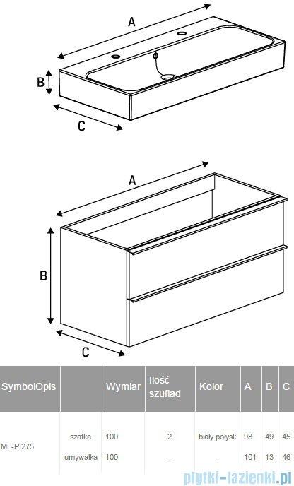New Trendy Kubiko szafka wisząca podumywalkowa + umywalka biały połysk 100 cm ML-PI275