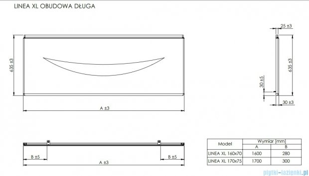 Roca Linea XL obudowa czołowa do wanny 170cm A25T020000