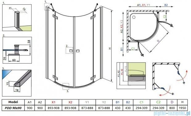 Radaway Almatea PDD Kabina półokrągła 90x90 szkło grafitowe 30502-01-05N