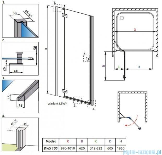 Radaway Almatea DWJ Gold drzwi wnękowe 100 lewe szkło grafitowe 31202-09-05N