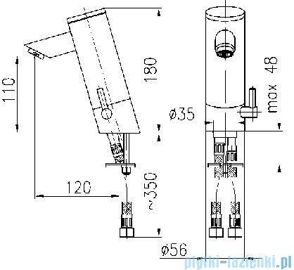 KFA Bateria specjalna bezdotykowa umywalkowa zasilanie bateryjne wewnętrzne chrom 592-110-00