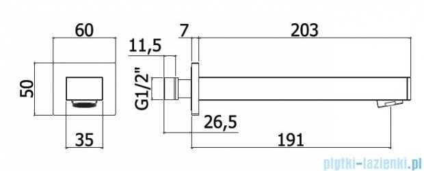 Paffoni  Wylewka ścienna Level ZBOC069