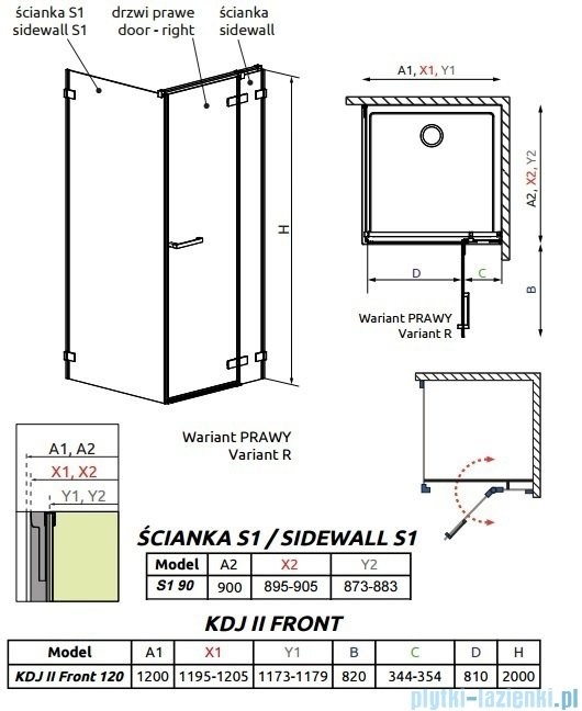 Radaway Arta Kdj II kabina 120x90cm prawa szkło przejrzyste 386457-03-01R/386042-03-01R/386021-03-01