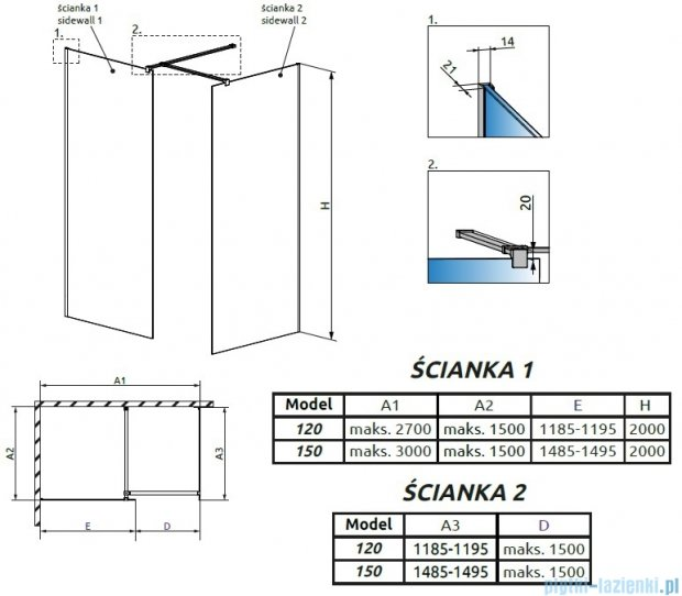 Radaway Modo New III kabina Walk-in 150x120x200 szkło przejrzyste 389154-01-01/389124-01-01/389000-01