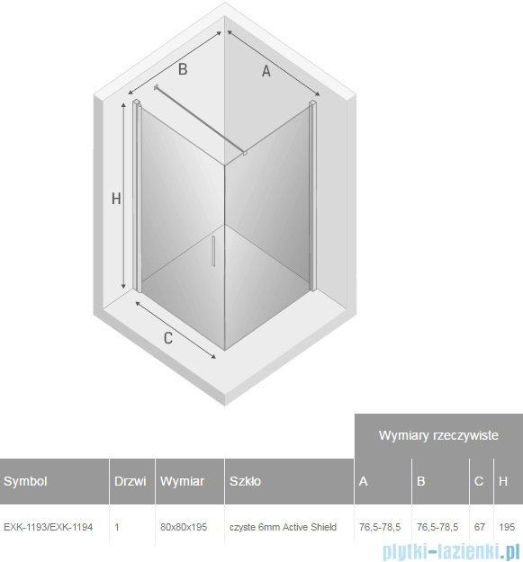 New Trendy Negra kabina prysznicowa 80x80cm przejrzyste EXK-1193/EXK-1194