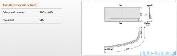 Sanplast Free Line obudowa do wanny lewa 90x140cm biała 620-040-0930-01-000