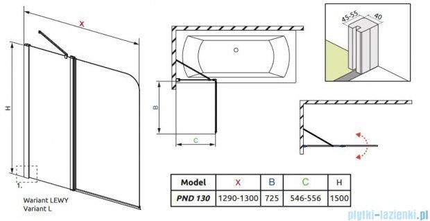Radaway Eos II PND Parawan nawannowy 130 lewy szkło przejrzyste 206213-01L