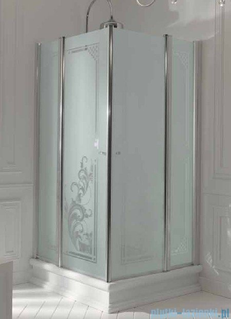 Kerasan Kabina kwadratowa szkło piaskowane profile brązowe 100x100 Retro 9148S3