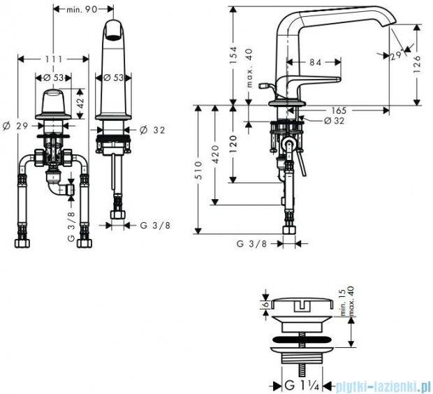 Hansgrohe Axor Bouroullec 2-otworowa bateria umywalkowa 155mm DN15 19143000